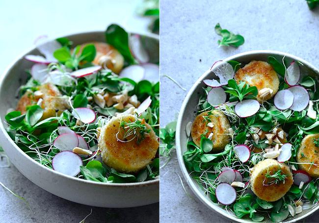 chevre chaud salat