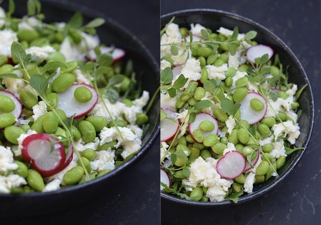 salat med edamamebønner og avocado